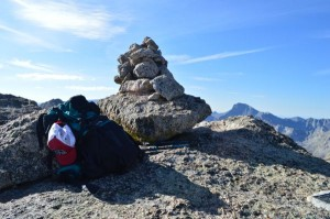 Summit cairn with Wolf's backpack.