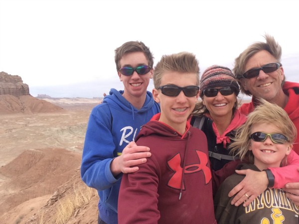 My #1 – my husband and sons – with me on top of a mountain we climbed SW Utah recently.