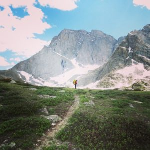 Alone on the trail, approaching Temple Peak. (Photo by Joel Krieger)