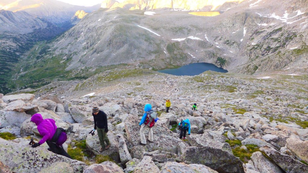 Leading last year's Epic Women Expedition up East Temple Peak, in the Wind River Range, during morning alpenglow.