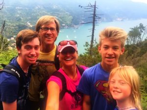 Family selfie while hiking in the Cinque Terre, Italy, area, on Day 13.