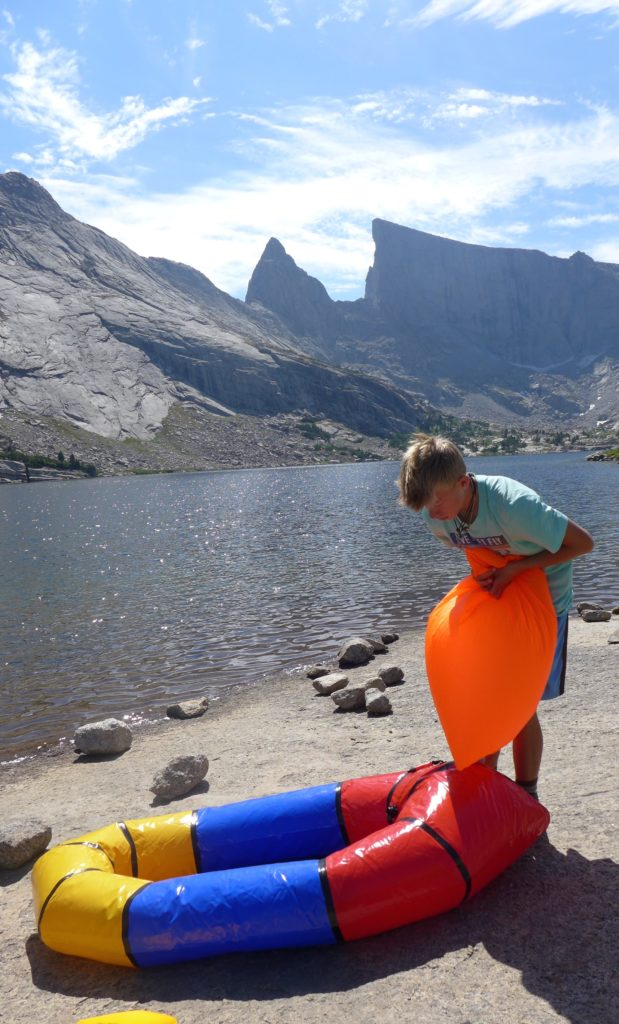 Hayden, inflating our pack raft.